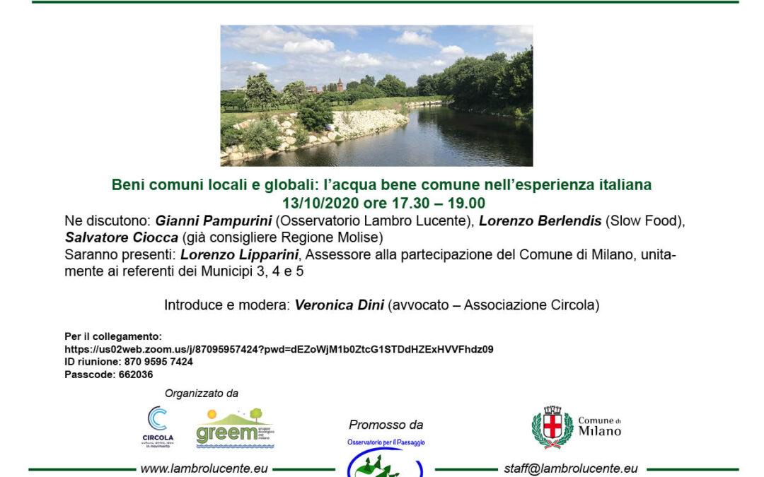 Beni comuni locali e globali: l'acqua bene comune nell'esperienza italiana